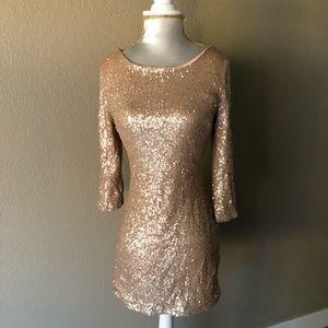 TOBI sequin rose gold dress